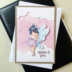 Kartenwerke: Eine kleine Pummelfee, #stampingbella #copics #distressink #createasmile #doublestitchedrectangledie #winkofstella