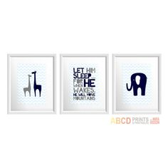 "Nursery art print ""Let him sleep"", Giraffe, Elephant. Set of 3"