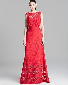 fd5477c26c0 Tadashi Shoji Gown - Sleeveless Lace Blouson Banded Waist Women -  Bloomingdale s