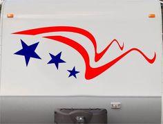 USA Flag Stars and Stripes RV Camper 5th Wheel Motorhome Vinyl Decal Sticker Graphic Custom Text Mural us008