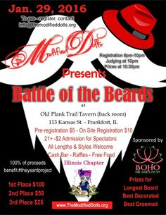 Check out the Battle of the Beards fundraiser event organized by the Modified Dolls Illinois Chapter. For more info visit the IL dolls` events page: https://www.facebook.com/events/985417618178111/  #modifieddolls #ILdolls #illinois #frankfort #nonprofit #fundraising #theyeardproject #battleofthebeards #beards #crohns #colitis #charity