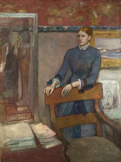 Hélène Rouart in her Father's Study by #Degas. The sitter in this portrait was the daughter of Degas's lifelong friend, the industrialist and collector Henri Rouart. She is shown in the family house surrounded by paintings and objects from her father's collection, including Egyptian wooden statues, a Chinese wall-hanging, a painting by Corot and a drawing by Millet.