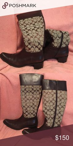 """EUC Authentic Coach Boots """" Coach """"Olivia"""" (P156 F2) Brown Leather Monogram Canvas riding boots in a size 10B.  The middle of the boot is canvas with the brown signature C's while the shoe portion and the top are brown leather. I do not have a box. Coach Shoes Heeled Boots"""