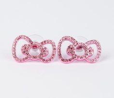 Hello Kitty Ribbon Stud Earrings: Pink Rhinestone