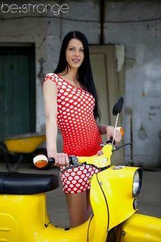 """Trägerkleider - Kleid """"Mia"""",Minikleid,Jerseykleid, rot/weiß,Punkte - ein Designerstück von be_strange bei DaWanda"""
