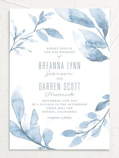 This dreamy wedding invitation features gorgeous painted leaves that surround your wedding details. The back of the invite includes a light watercolor background. Wedding Card Design, Wedding Invitation Design, Wedding Stationery, Wedding Designs, Wedding Cards, Blue Wedding, Wedding Colors, Painted Leaves, Watercolor Wedding Invitations