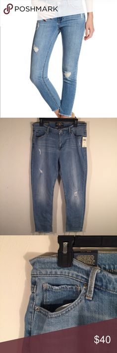 Lucky Brand Brooke Capri Jeans Amazing pair of Brooke Capris from Lucky Brand. These white wash denim capris feature a frayed hem at the legs and slightly distressed rips. Size 14/32 and ready to be yours!  Lucky Brand Jeans Ankle & Cropped