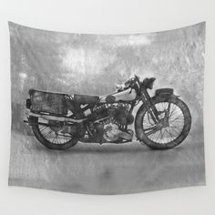 Vintage Motorcycle No3 Wall Tapestry. Available in three distinct sizes, our Wall Tapestries are made of 100% lightweight polyester with hand-sewn finished edges. Featuring vivid colors and crisp lines, these highly unique and versatile tapestries are durable enough for both indoor and outdoor use. Machine washable for outdoor enthusiasts, with cold water on gentle cycle using mild detergent - tumble dry with low heat.