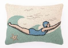 Diving Girl Retro Pillow - ThrowMeAPillow