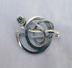 Silver Sterling Signed Ola Gorie Kells Modernist Woven Brooch