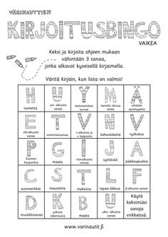 Kirjoittaminen - Värinautit Abc For Kids, Teaching Aids, Learn English, Bingo, Human Body, Psychology, Language, Classroom, Writing