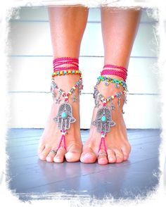 HAMSA hand BAREFOOT sandals tribal belly DANCE foot by GPyoga.