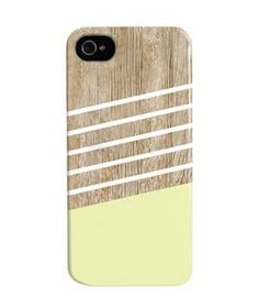 Stripe iPhone 4 Case: Add visual dimension to your device with this faux-wood backdrop topped with a linear pastel design.