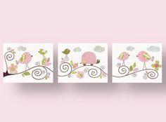 Set of 3 8x10 Prints -  Les Oiseau - baby nursery decor nursery wall art children wall art bird turtle kids art baby art