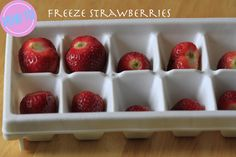 Ice cube trays work great to individually freeze strawberries before putting them all together!  http://fabulesslyfrugal.com/2012/05/money-saving-tips-6.html