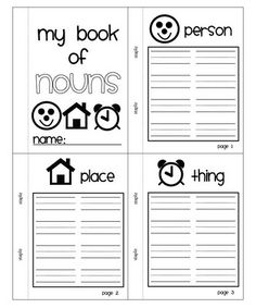 My Book of Nouns  Could change to make it more on a fifth grade level to make at the beginning of the year as reminders. Make with all parts of speech