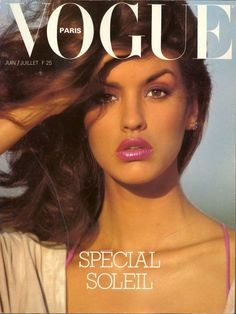 Janice Dickinson on the cover of French Vogue, 1970s.