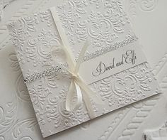Embossed Wedding Invitations by www.bwreporter.com.au Embossed Wedding Invitations, Tie The Knots, Scrapbooking, Antique, Weddings, Marriage Invitation Card, Invitations, Tying The Knots, Wedding