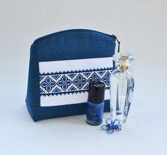 Folk Cross stitch pouch  Blue linen cosmetic bag  by Anilachan