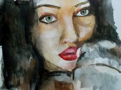 Portrait of girl with dark hair and green  eyes. Watercolor painting. Портрет брюнетки с зелеными глазами, акварель. Color, emotion by teslimovka on Etsy #art #portrait #print #painting #greeneyes #lips #brune #sigth #passion #watercolor #teslimovka #акварель #портрет #рисунок #принт #зеленыеглаза #взгляд
