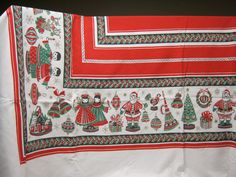 Vintage Christmas motif with red center table cloth by DinysAttic, $20.00