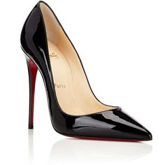 Christian Louboutin Women's So Kate Patent Leather Pumps ($675) ❤ liked on Polyvore featuring shoes, pumps, black stiletto pumps, high heel pumps, patent leather pumps, black patent leather shoes and christian louboutin pumps