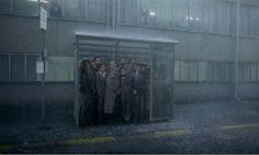 Roy Andersson Bus stop scene, obviously not all the characters but nice backdrop of the building behind. Rain Animation, Roy Andersson, Michelangelo Antonioni, Film Inspiration, Matte Painting, Chor, Documentary Photography, Film Stills, Photo Wall