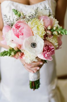 Anemones, pink peony wedding flower bouquet, bridal bouquet, wedding flowers - www.myfloweraffair.com