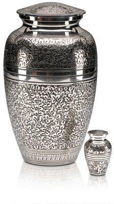 Funeral Cremation Urn for Ashes- Silver Oak Leaf