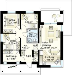 Talia projekt - Parter 78.85 m² Floor Plans, Bungalows, Modern, House Plans, Houses, How To Plan, Home Architecture, Projects, Homes