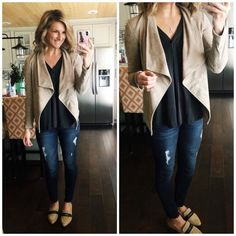 Casual Work Outfit  #shopthelook #casualworkoutfit #fauxsuedejacket #distressedjeans