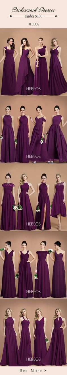Purple or grape bridesmaid dresses in the right style will create a fairy-like effect. You are sure to find a perfect one from HEBEOS 2018 bridesmaid dress collection on sale!