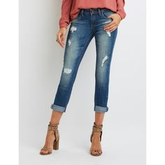 Dollhouse Distressed Cropped Boyfriend Jeans ($33) ❤ liked on Polyvore featuring jeans, medium wash denim, boyfriend jeans, boyfriend capri jeans, mid rise skinny jeans, cuffed denim capris and ripped boyfriend jeans
