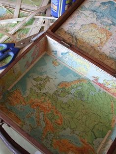 Great way to tidy up the inside of an old suitcase or box from Vintage Jane