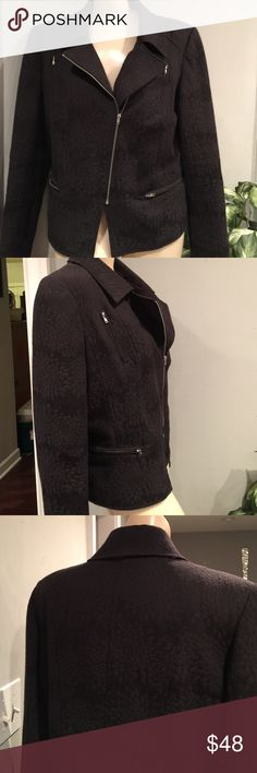 """Cynthia Rowley """"ZIPPER"""" Jacket sz Large So in style this season.  Pattern black on black zipper jacket. Asymmetrical . Tapered waist, front zip, cotton & polyester Blend. No stains, rips , tears Cynthia Rowley Jackets & Coats"""