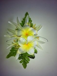 ILA'S PLUMERIA Hair Clip- Tropical,White,Yellow, Foam Plumeria Flowers,White Lilies,Green Ferns,Beach Brides,Wedding,Luau,Hula,CorsageProms.