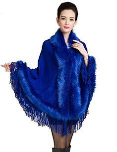 Kranda Women's Faux Fox Fur Trim Wool…