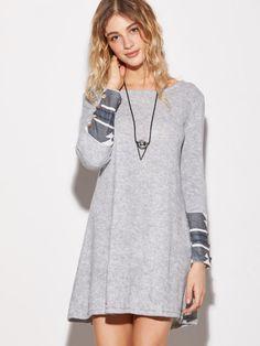 3d5d1a6b1ef44 Grey Contrast Geometric Print Cuff Dress