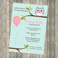 owl birthday party invitation, balloon, pink and aqua, digital, printable file http://www.etsy.com/shop/freshlysqueezedcards