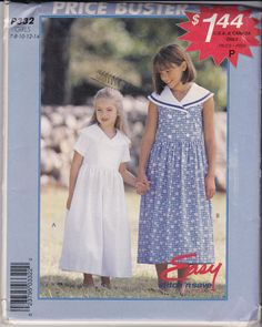 NEW AND UNCUT McCalls 8618 (also know as P332) for a girls sleeveless or short sleeve dress, sailor collar styling, double breasted front by TreasuresFromGranny on Etsy
