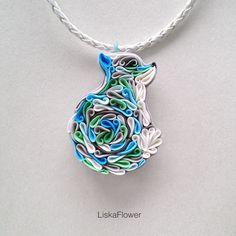 Купить Кулон Снежный лис из полимерной глины - голубой, бирюзовый, фентези, лиса, сказочный персонаж