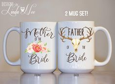Mother of the Bride Gift, Father of the Bride Gift, Mother of the Bride Boho Mug Father of the Bride Antler Mug Wedding Thank You Mug MPH364