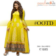 OUTFIT OF THE DAY #OOTD   Citrine yellow anarkali at just 1695/-  #yellow #citrine #musthave #peachmode #anarkali #indianstyle #indianfashion #aamnashariff #peachmode #pinterest #pinit #clothing #womensfashion