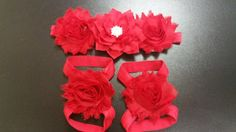 Ready To Ship And In Stock !!!  This Item Will Be Place In The Mail To You On The Next Business Day !! You Get Your Order May Be Next 5 Day !!!  Baby Red Headband And Baby Bare Foot Sandals Made Of Hi