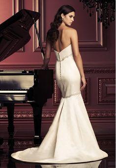 Slinky Custom-made Mermaid Strapless Beadings Corest Satin Sweep Train Wedding Dress