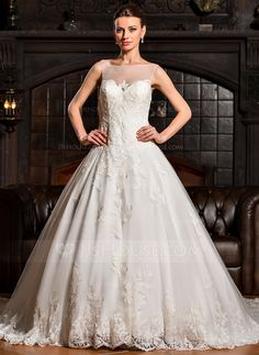 Ball-Gown Scoop Neck Royal Train Tulle Wedding Dress With Appliques Lace (002067237)