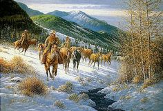 Round up horses in the snow art