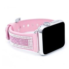 Apple Watch Light Pink Replacement Band with Crystal and Rose Swarovski Elements - Sheer Elegance Collection Apple Watch Replacement Bands, Smart Fitness Tracker, Apple Watch Fashion, Apple Watch Accessories, Things To Buy, Pink Things, Apple Products, Apple Watch Bands, Cool Watches