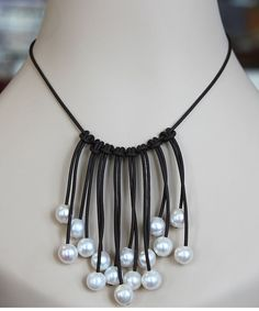 leather and freshwater pearl dangle necklace  by wildaboutpearls, $245.00