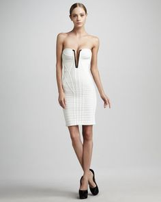 Trimmed Strapless Plunge Bandage Dress by Herve Leger at Neiman Marcus.
